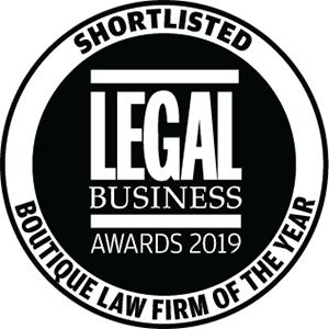 Shortlisted for Legal Business Awards 2019: Boutique Firm of the Year