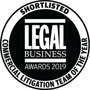 Shortlisted for Legal Business Awards 2019: Commercial Litigation Team of the Year