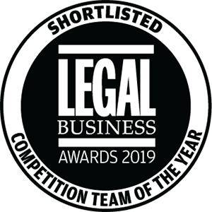 Shortlisted for Legal Business Awards 2019: Competition Team of the Year