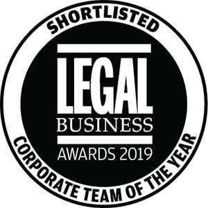 Shortlisted for Legal Business Awards 2019: Corporate Team of the Year