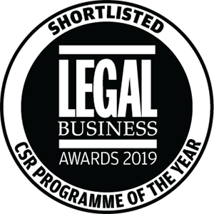 Shortlisted for Legal Business Awards 2019: CSR Programme of the Year