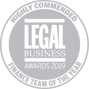 Highly commended for Legal Business Awards 2019: Finance Team of the Year