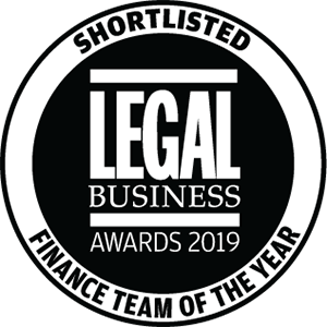 Shortlisted for Legal Business Awards 2019: Finance Team of the Year