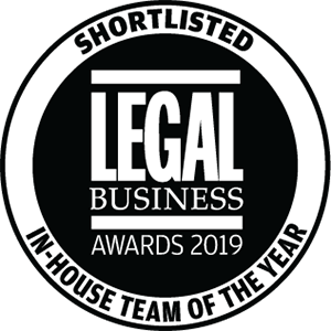 Shortlisted for Legal Business Awards 2019: In-House Team of the Year