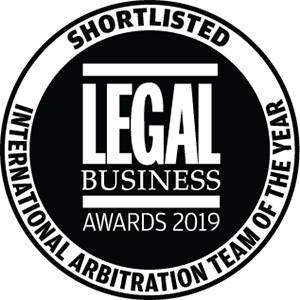 Shortlisted for Legal Business Awards 2019: International Arbitration Team of the Year