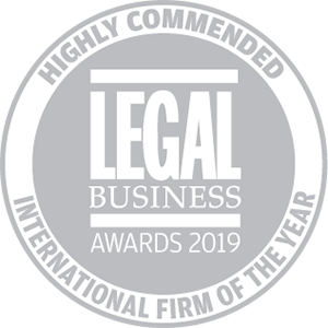 Highly commended for Legal Business Awards 2019: International Firm of the Year