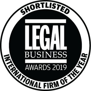 Shortlisted for Legal Business Awards 2019: International Firm of the Year