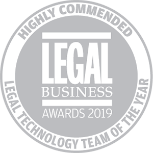 Highly commended for Legal Business Awards 2019: Legal Technology Team of the Year
