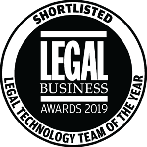 Shortlisted for Legal Business Awards 2019: Legal Technology Team of the Year