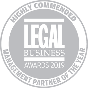 Highly commended for Legal Business Awards 2019: Management Partner of the Year