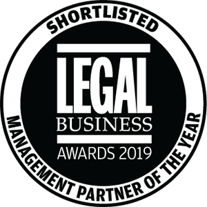 Shortlisted for Legal Business Awards 2019: Management Partner the Year