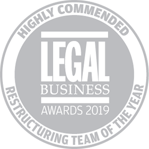 Highly commended for Legal Business Awards 2019: Restructuring Team of the Year