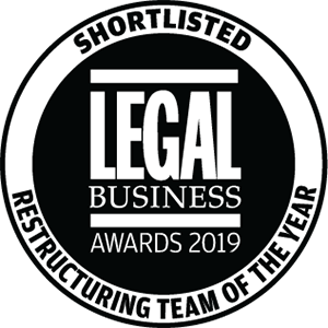 Shortlisted for Legal Business Awards 2019: Restructuring Team of the Year