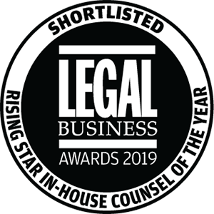 Shortlisted for Legal Business Awards 2019: Rising Star In-House Counsel of the Year