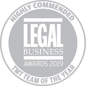 Highly commended for Legal Business Awards 2019: TMT Team of the Year